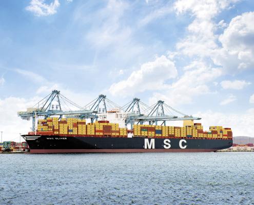 MSC Oliver (built 2015) 19,224 TEU, Aarhus port